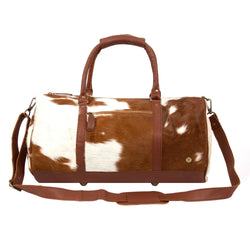 Natural Brown and White Cow Print Leather Cowhide Duffle Bag