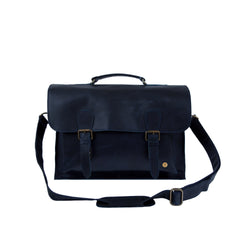 "Navy Full Grain Leather Messenger Satchel with 15"" Laptop Capacity"