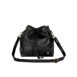 Personalised Black Leather Bucket Bag With Drawstring Tassels