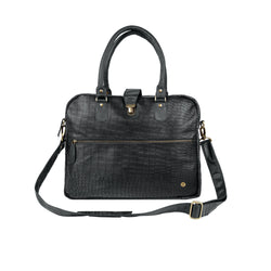 "Personalised Black Leather Crocodile Print Buckle Satchel with 15"" Laptop Capacity"