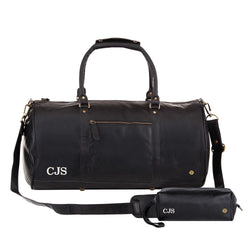 Personalised Black Leather Duffle & Wash Bag Gift Set in Black