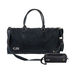 Personalised Black Leather Duffle & Wash Bag Gift Set