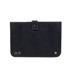 "Personalised Black Leather Macbook Sleeve for 13"" or 15"" Devices"