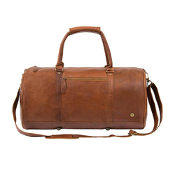 Personalised Brown Full Grain Leather Unisex Duffle Bag