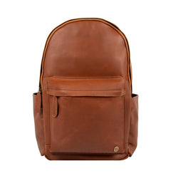 Personalised Brown Leather Backpack with Side Pockets