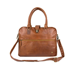 "Personalised Brown Leather Buckle Satchel with 15"" Laptop Capacity"