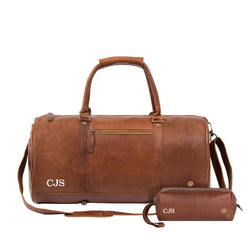 Personalised Brown Leather Duffle & Wash Bag Gift Set