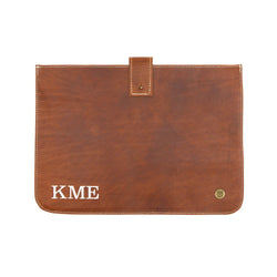 "Personalised Brown Leather Macbook Sleeve for 13"" or 15"" Devices"