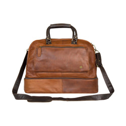 Personalised Full Grain Brown Leather Holdall with Shirt Compartment