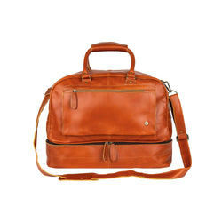Personalised Full Grain Tan Brown Leather Holdall with Shirt Compartment