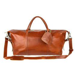 Personalised Large Buffalo Leather Weekend Bag in Tan Brown