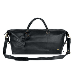 Personalised Large Full Grain Leather Weekend Bag in Black