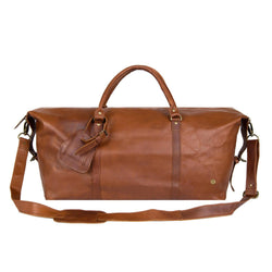 Personalised Large Full Grain Leather Weekend Bag in Brown