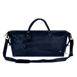 Personalised Large Full Grain Leather Weekend Bag in Navy Blue
