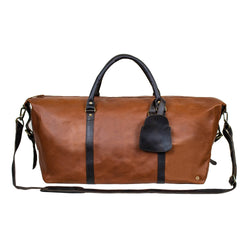 Personalised Large Full Grain Leather Weekend Bag in Two Tone Brown