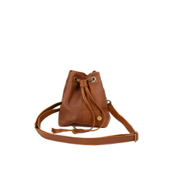 Personalised Mini Brown Leather Bucket Bag With Drawstring Tassels