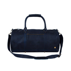 Personalised Navy Blue Full Grain Leather Duffle Bag