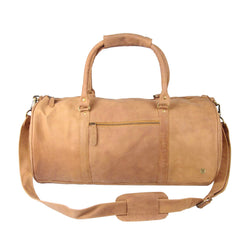 Personalised Suede Leather Duffle Bag in Vintage Cognac