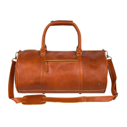 Personalised Tan Buffalo Leather Duffle Bag