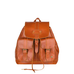Personalised Tan Leather Drawstring Backpack With Pockets