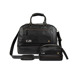 Personalized Black Leather Holdall & Wash Bag Gift Set