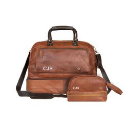 Personalized Brown Leather Holdall & Wash Bag Gift Set