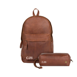 Personalized Leather Backpack & Wash Bag Gift Set in Brown