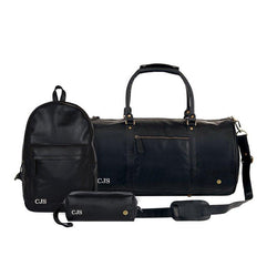 Personalized Leather Duffle, Backpack & Wash Bag Gift Set in Black