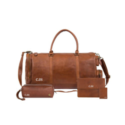 Personalized Leather Travel Bag & Accessories Gift Set in Brown
