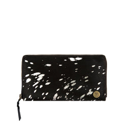 'Pony Hair' Purse | Black & Silver Cowhide Leather Ladies Purse
