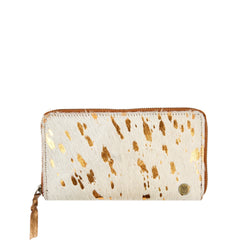 'Pony Hair' Purse | Cream & Gold Cowhide Leather Ladies Purse
