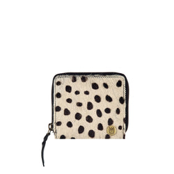 Small Spotted Pony Hair Coin Purse | Black & White Spot Print Purse