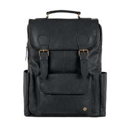 Square Black Leather Backpack with 15 inch Laptop Capacity