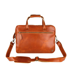 "Tan Leather Compact Laptop Bag with 13"" Laptop Capacity"