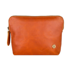 Tan Leather Make-Up Toiletry Bag | Personalized Small Cosmetics Bag