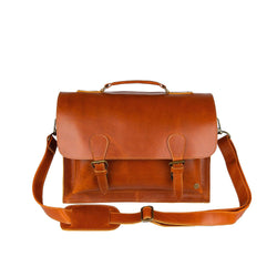 "Tan Leather Messenger Satchel with 15"" Laptop Capacity"