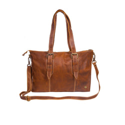 The MAHI Victoria Tote Handbag in Vintage Brown Leather