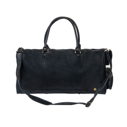 Unisex Columbus Weekender in Full Grain Black Leather