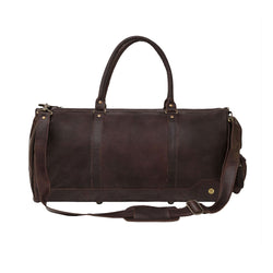 Unisex Columbus Weekender in Full Grain Dark Brown Leather