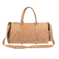 Unisex Columbus Weekender in Vintage Cognac Suede Leather