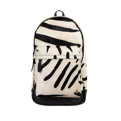 Zebra Print Cowhide Leather Backpack For Work, College, or School