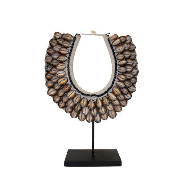 BROWN SHELL NECKLACE ON STAND