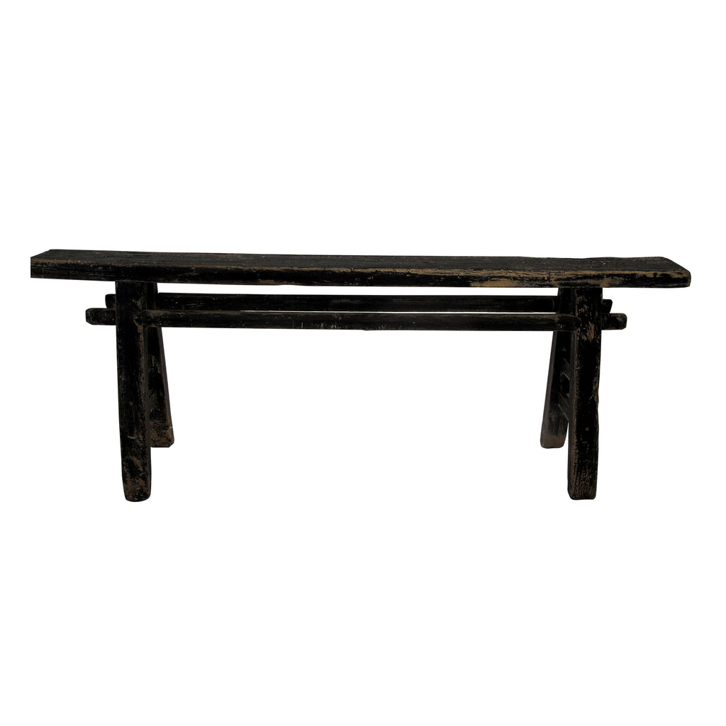 BLACK GLOSS OLD ELM BENCH SMALL