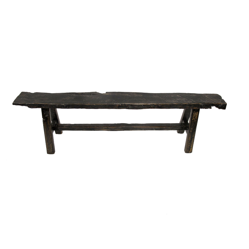 BLACK GLOSS OLD ELM BENCH LARGE