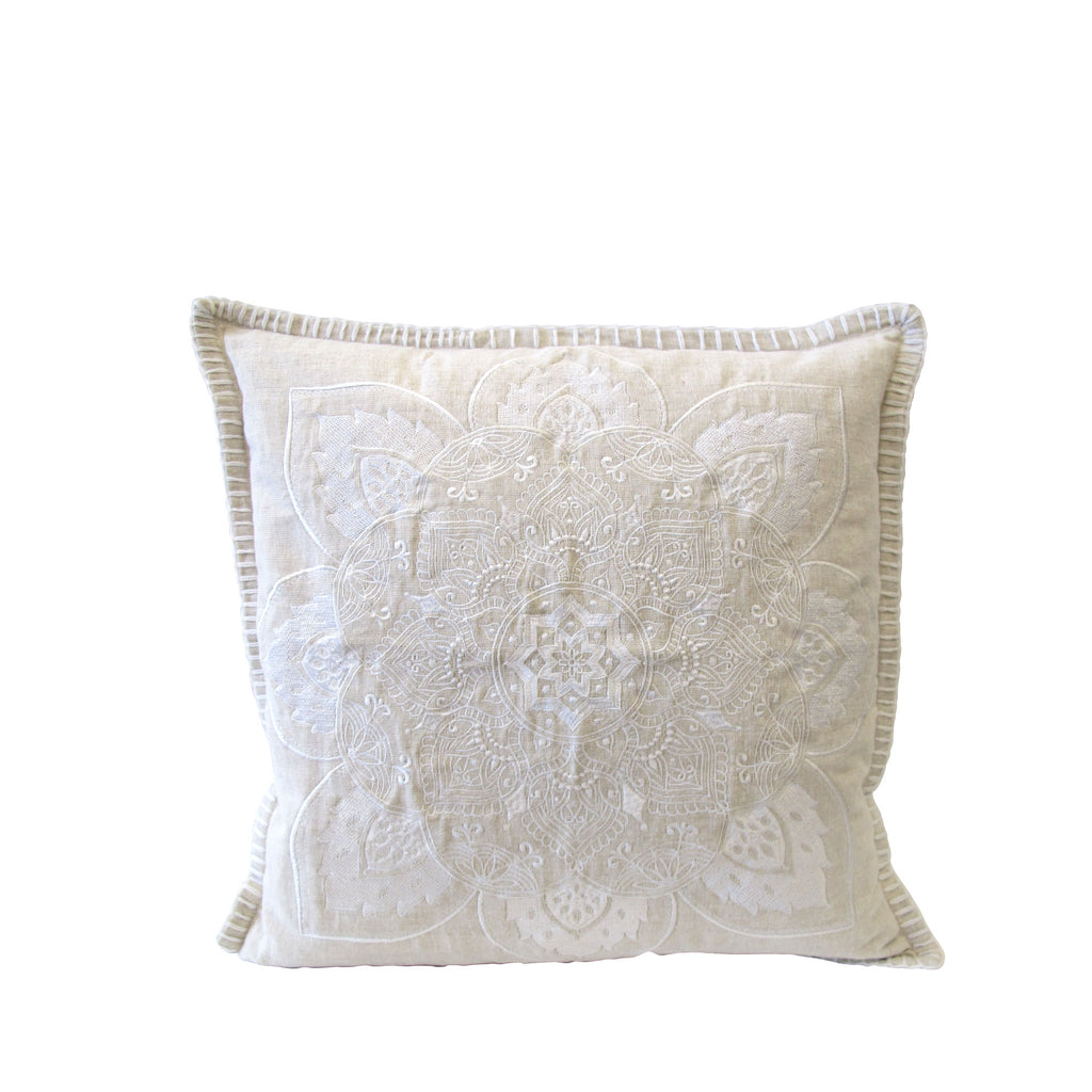WHITE MANDALA CUSHION