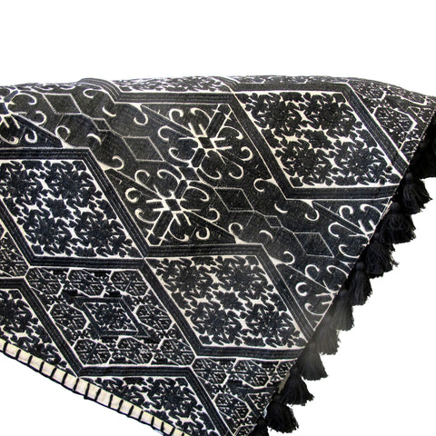 WHITE TRIBAL EMBRODEIRY BED COVER