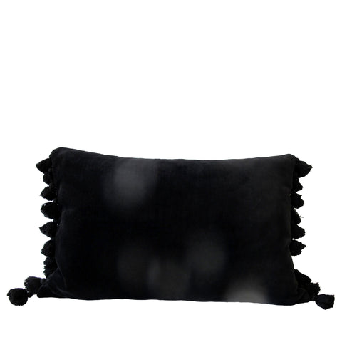 BLACK VELVET TASSEL CUSHION