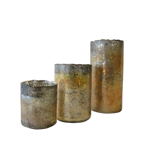 RUSTIC GOLD VOTIVE SET/3