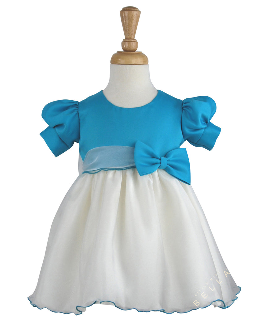 Short Sleeve Bow on Organza Baby Party Dress