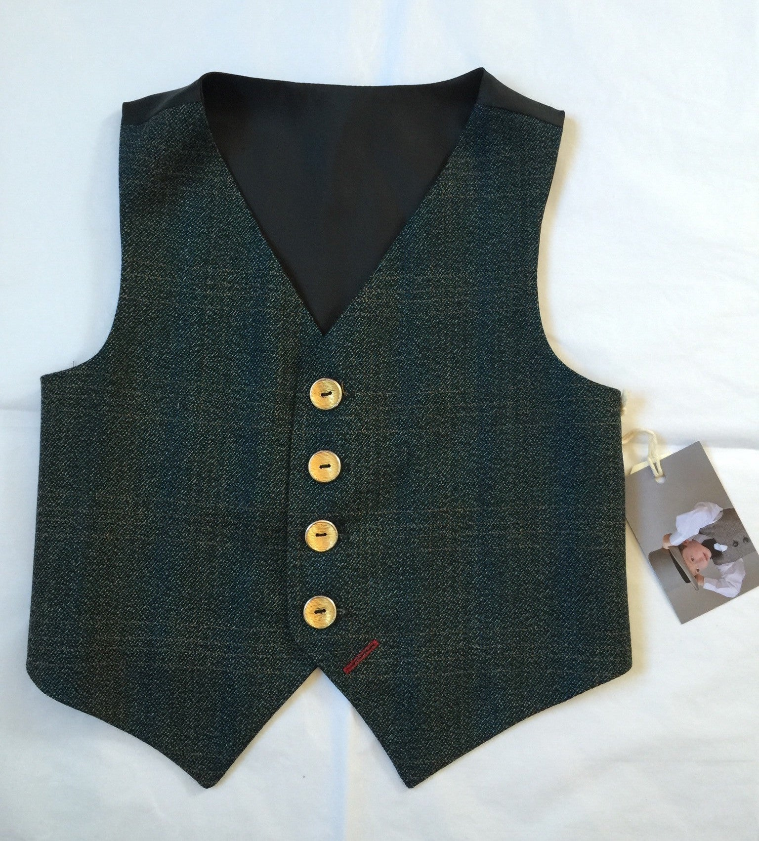 Sample Boys waistcoat 5-6 years in a blue, green and brown check 'Emmett Brown'